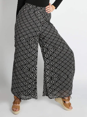 Get Printed Georgette Flared Pants with RS. 1374.00