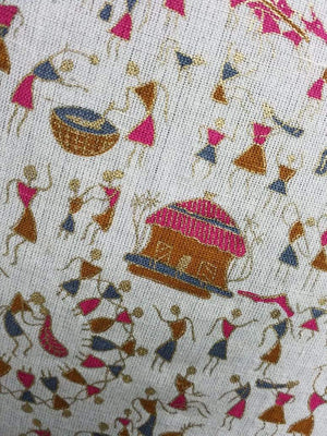 Pink Brown Warli Tribe Pattern Cotton Flex Fabric with Gold Print