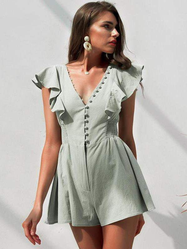 Elegant V-Neck Ruched Linen Summer Cotton Short Jumpsuit - zooomberg