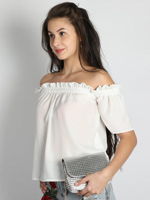 Get White Off Shoulder Short Top with RS. 594.00