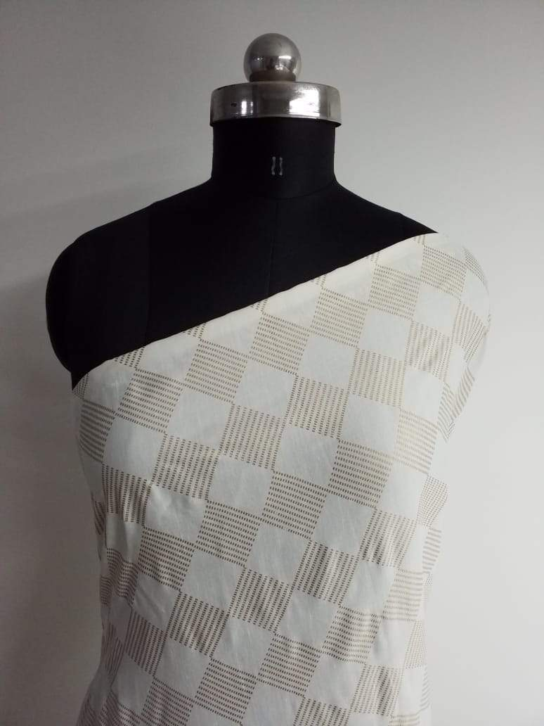 Checkered Pattern Foil Printed Linen Satin Fabric - Zooomberg