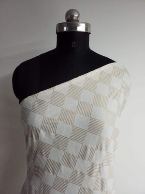 Checkered Pattern Foil Printed Linen Satin Fabric