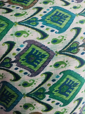 Green Ancient Floral Checkered Pattern Printed Linen Satin Fabric