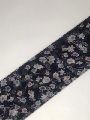 (Cut Piece - 1 Mtrs) Imported Navy Blue Chiffon Viscose Floral Printed Fabric (Width - 58 inches)