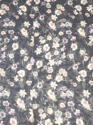 (Cut Piece - 1.5 Mtrs) Imported Navy Blue Chiffon Viscose Floral Printed Fabric (Width - 58 inches)