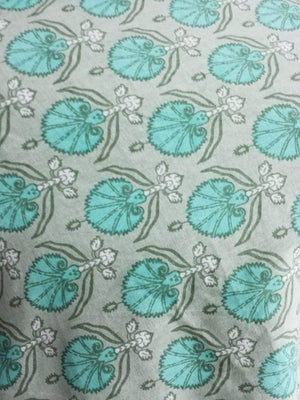 Cotton Cambric Floral Screen Printed Fabric
