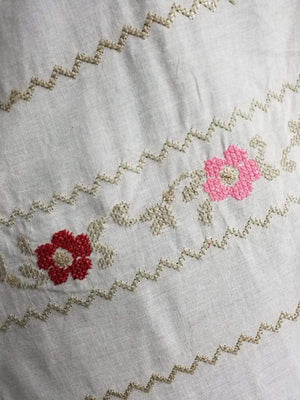 Cotton Floral Zig Zag Embroidery Fabric with Gold Sequins