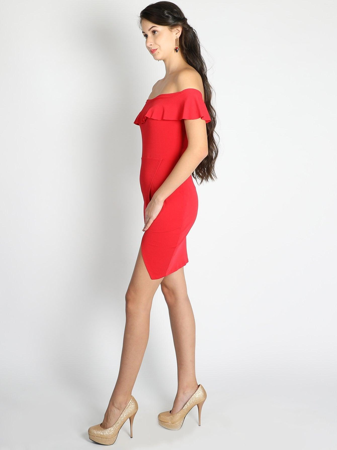 Red Frilled Off Shoulder Dress - Dresses - Zooomberg - Zoomberg