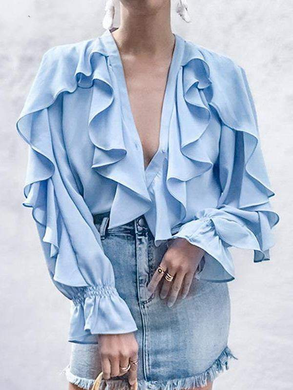 Sexy V-Neck Women Blouse Shirt