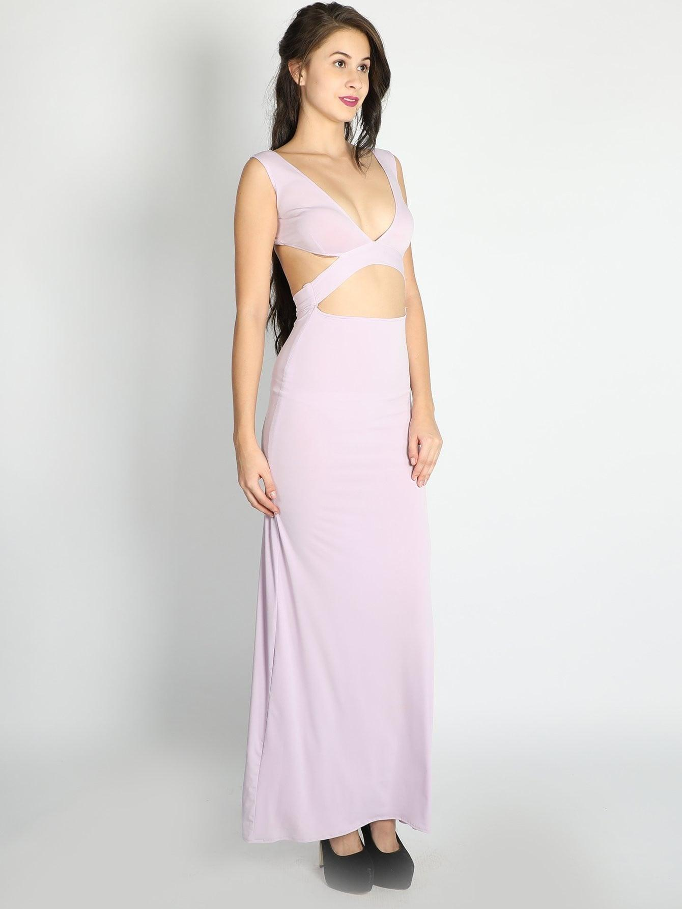 Lilac Cut Out Bodyfit Gown - Dresses - Zooomberg - Zoomberg