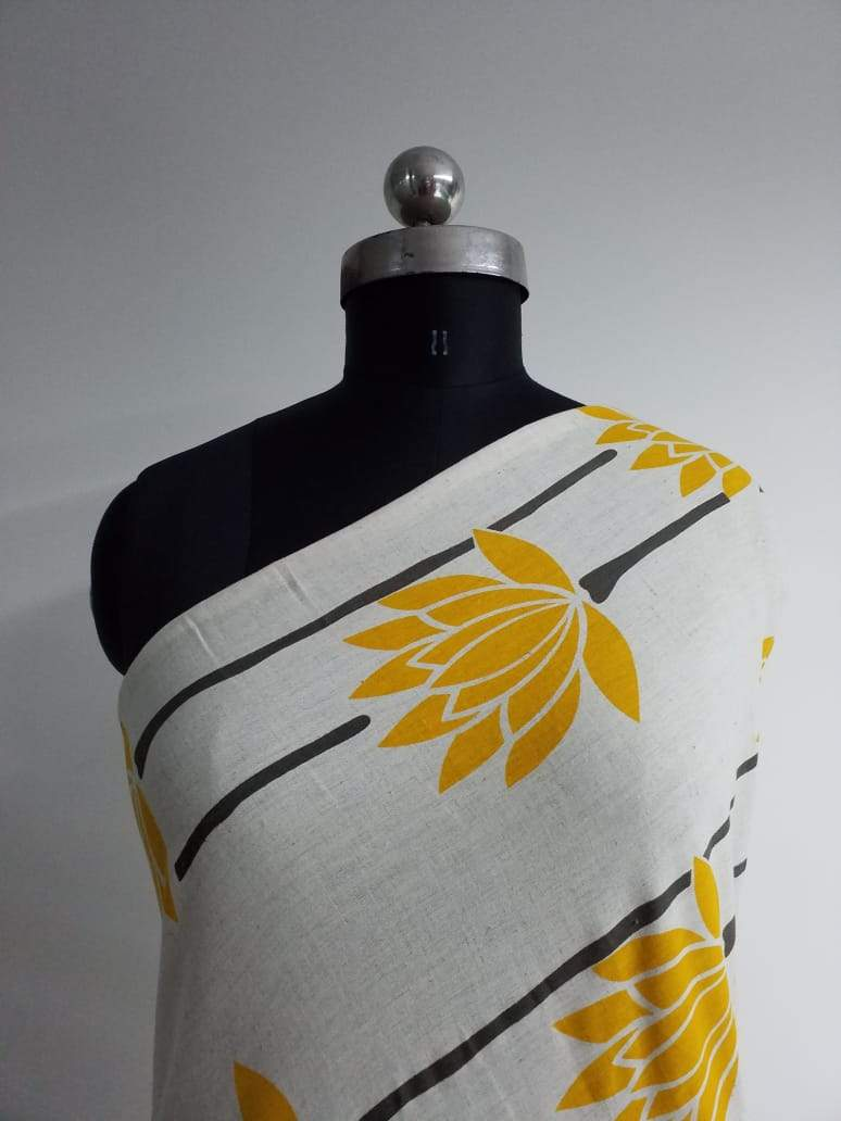 Yellow Floral Cotton Flex Printed Fabric - Zooomberg