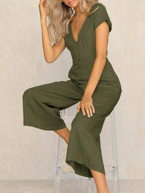 Casual V Neck High Waist Wide Leg Long Jumpsuit