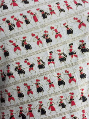 Red Black Warli Pattern Cotton Flex Fabric with Gold Print