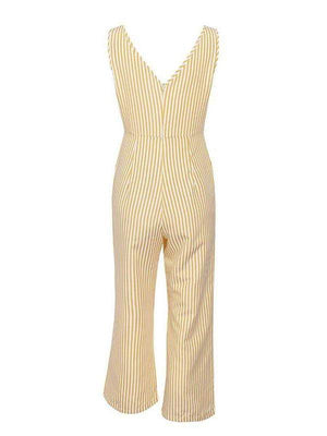 V-Neck Stripe Women Jumpsuit - Jumpsuits - Zooomberg - Zoomberg