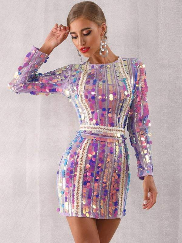 Elegant Long Sleeve Sequined Mini Luxury Club Dress - zooomberg
