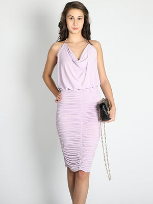 Lilac Cowl Neck And Gathered Skirt  Dress - Dresses - Zooomberg - Zoomberg