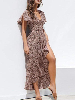 Sexy Lace Up Leopard Print Wrap Long Dress - Dresses - Zooomberg - Zoomberg