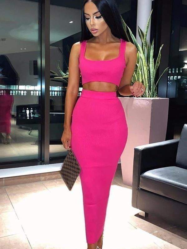 Two Piece Summer Skinny Solid Strapless Knitted Dress
