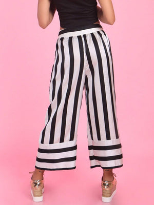 Get Black & White Stripes Anti-fit Culottes with RS. 870.00
