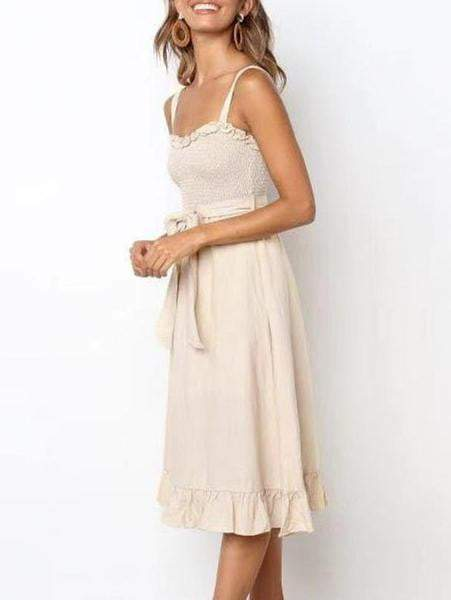Elegant Casual Spaghetti Strap Bow Lace Summer Dress