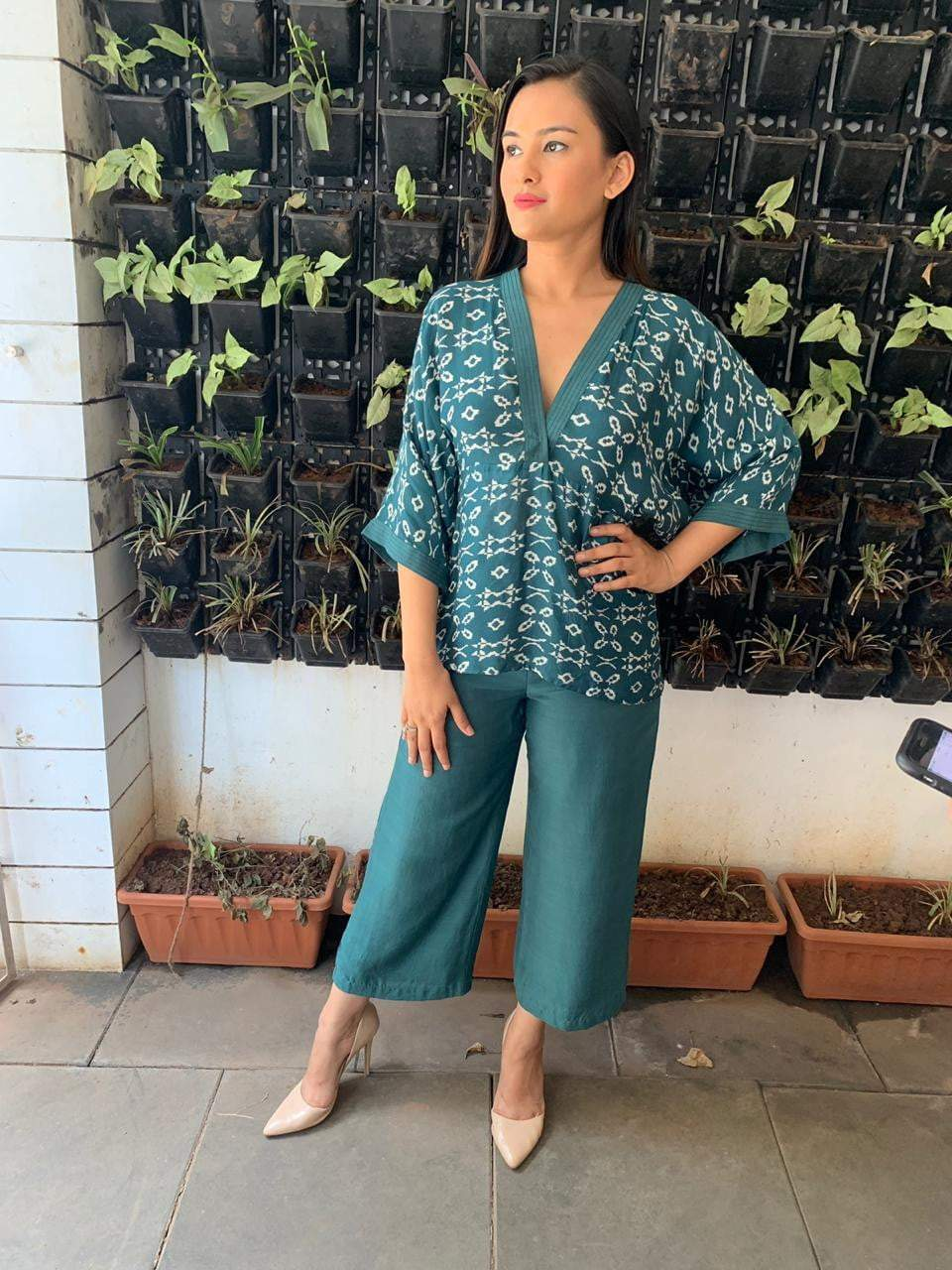 Teal Green Batwing Sleeves Top With Culottes - zooomberg