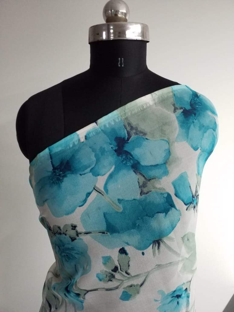 Blue Floral Pattern Screen Printed Organza Fabric - Zooomberg