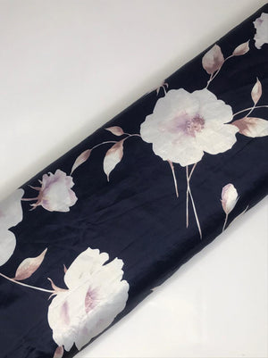 Imported Navy Satin Floral Printed Fabric (Width - 58 inches)