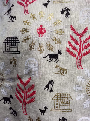 Red Black Warli Festive Pattern Cotton Flex Fabric with Gold Print
