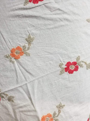 Cotton Floral Embroidery Fabric with Gold Sequins