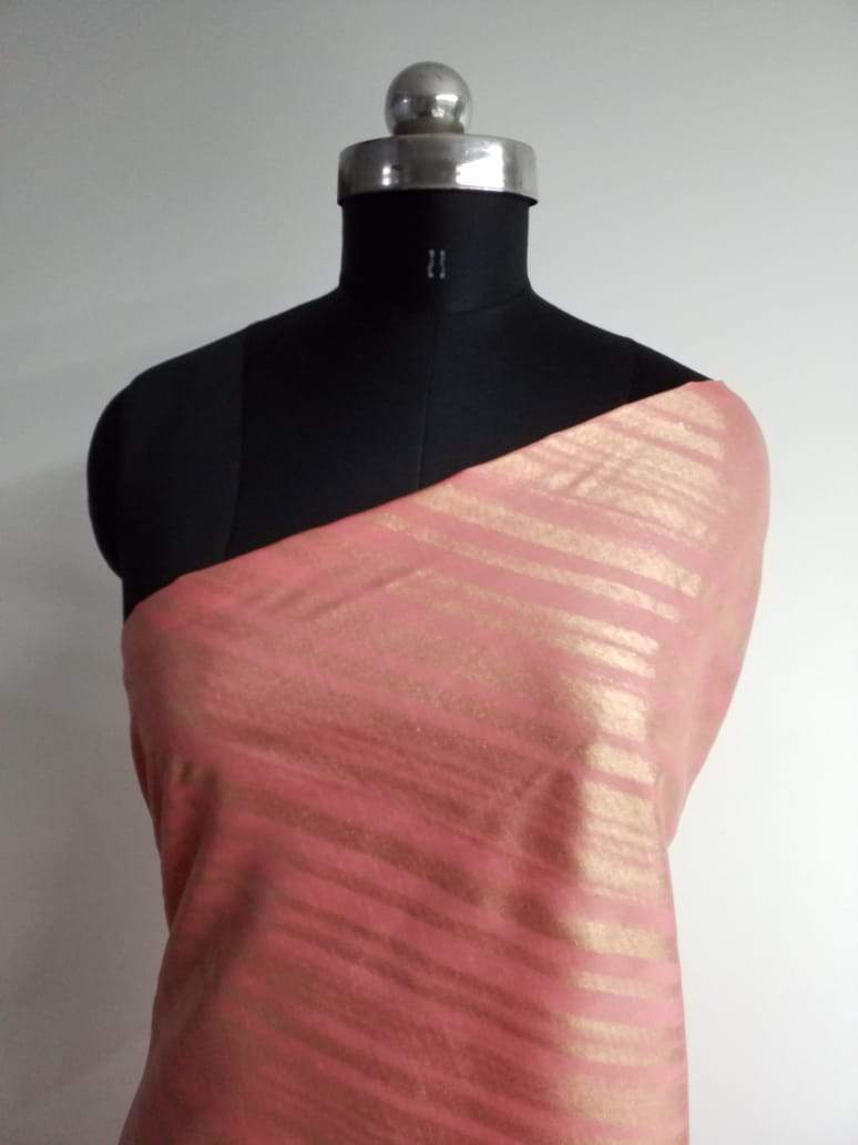 Stripe Pattern Gold Laser Foil Printed Linen Satin Fabric