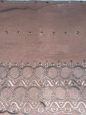 Brown Palazzo One Side Border Embroidery with all over Buti Embroidery