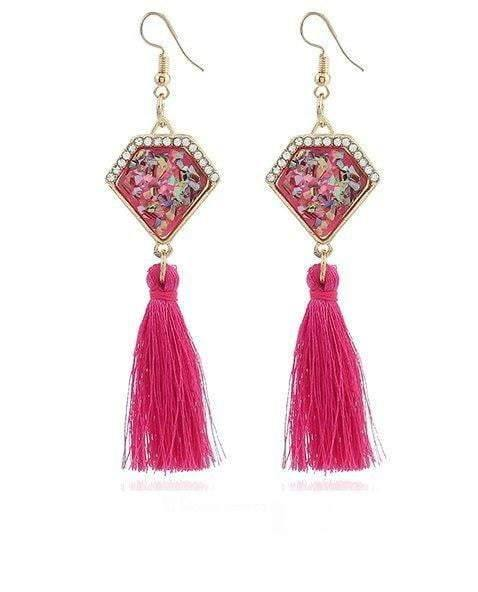 Ethnic Vintage Statement Irregular Stone Long Tassel Drop Earring - zooomberg