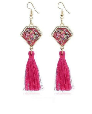 Ethnic Vintage Statement Irregular Stone Long Tassel Drop Earring