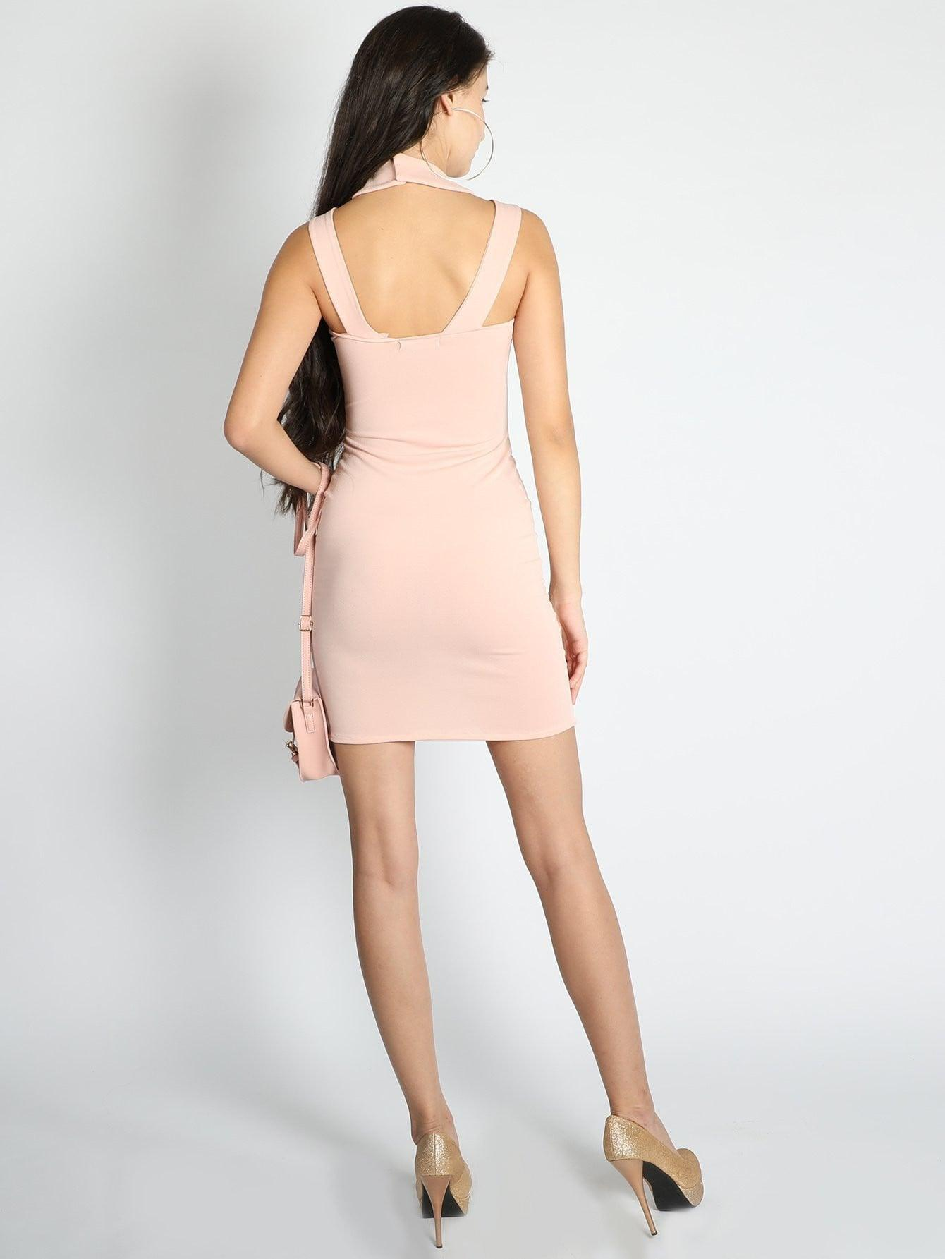 Halter Neck Straps Bodycon Dress - zooomberg