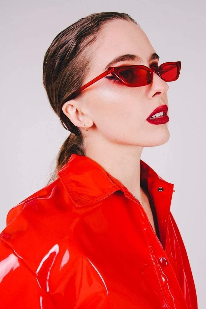 Red Sleek Extended Cat-Eye Sunglasses