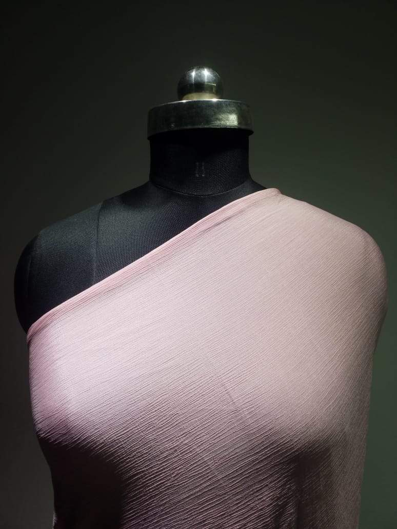 Artificial Pink Chinnon Silk Plain Dyed Fabric