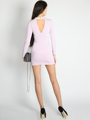 Lilac Deep V Neck Bodycon Dress - Dresses - Zooomberg - Zoomberg