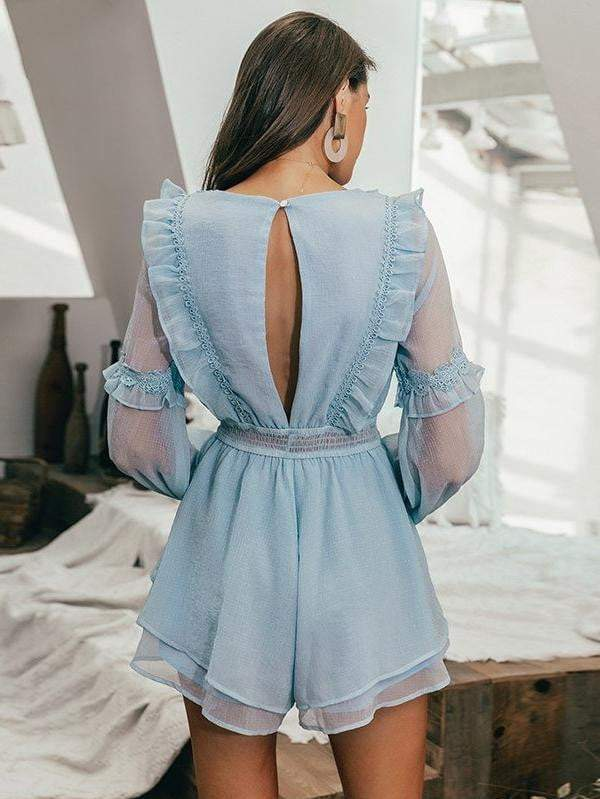 Elegant Ruffled Embroidery Elastic High Waist Female Jumpsuit