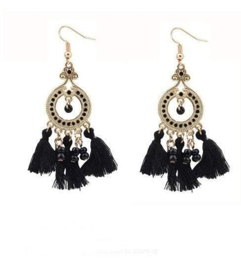 Vintage Boho Beads Tassel Drop Bohemian Earrings - zooomberg