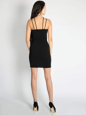 Black Criss Cross Neck Dress - Dresses - Zooomberg - Zoomberg