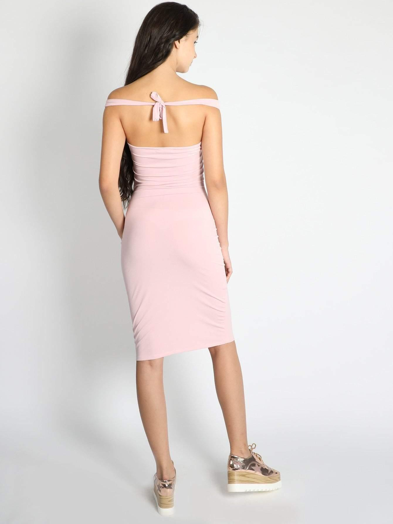 Pink Off Shoulder Criss Cross Front Halter Neck Dress - Dresses - Zooomberg - Zoomberg