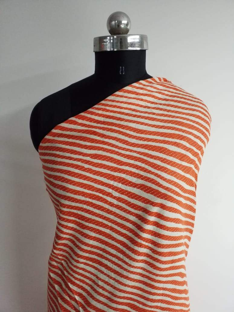 Stitched and Stripe Printed Cotton Fabric