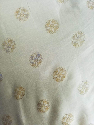 Pastel Shade Flower Pattern Foil Printed Cotton Satin Fabric