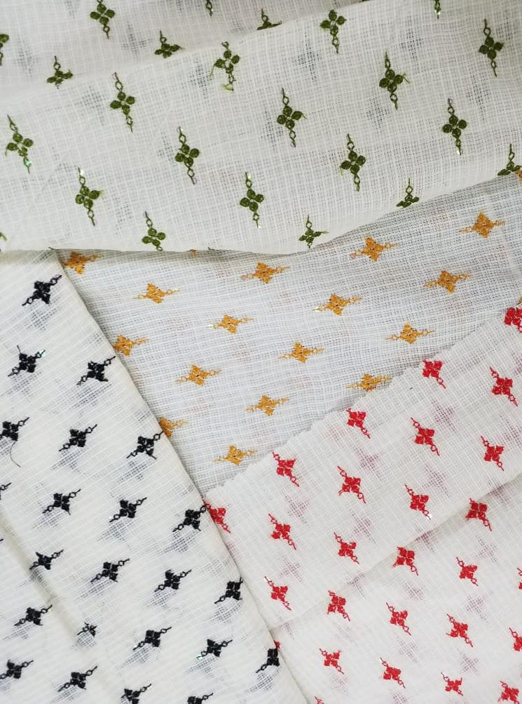 Cotton Kota Checks Embroidery Fabric with Sequins