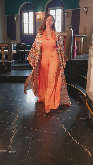 Orange Halter Neck Jumpsuit with Printed Kimono Jacket