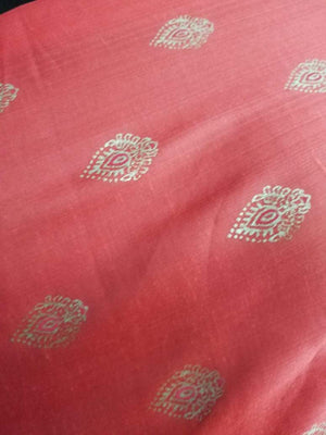 Traditional Pattern Foil Printed Linen Satin Fabric - Zooomberg