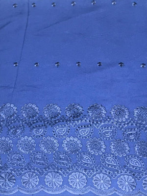 Navy Blue Palazzo One Side Border Embroidery with all over Buti Embroidery