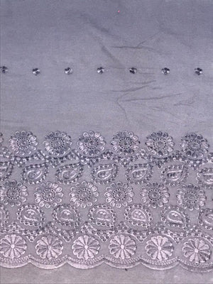 Grey Palazzo One Side Border Embroidery with all over Buti Embroidery