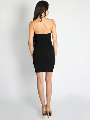 Black Criss Cross Stripe Waist Dress - Dresses - Zooomberg - Zoomberg