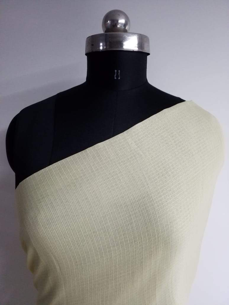 Pastel Light Yellow Plain Dyed Kota Doria Fabric